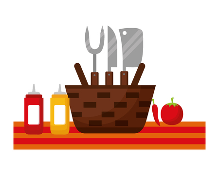 wicker basket picnic sauces and utensils vector illustration