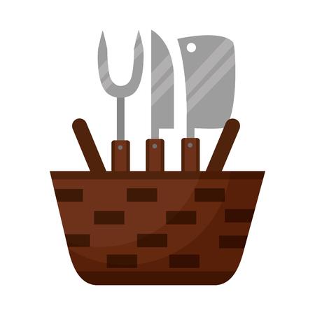 wicker basket fork and knives vector illustration