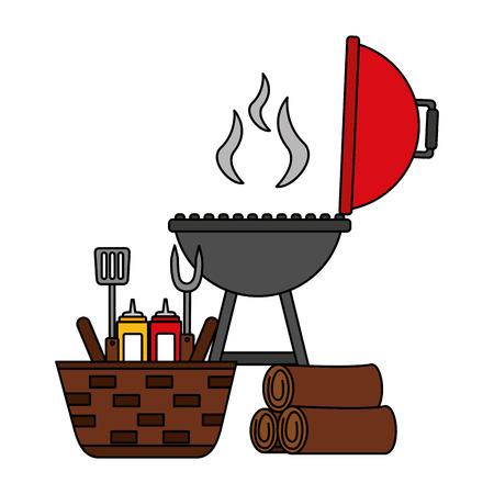 wicker basket barbecue grill wooden utensils vector illustration vector illustration 版權商用圖片 - 126821338