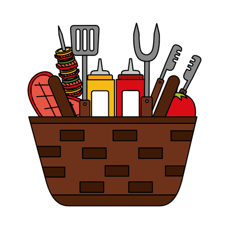 wicker basket barbecue sauces kebab meat vector illustration vector illustration Illustration