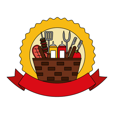 wicker basket barbecue sauces kebab meat emblem vector illustration vector illustration