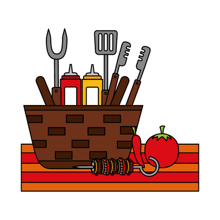 wicker basket barbecue sauces tongs vector illustration vector illustration Ilustração