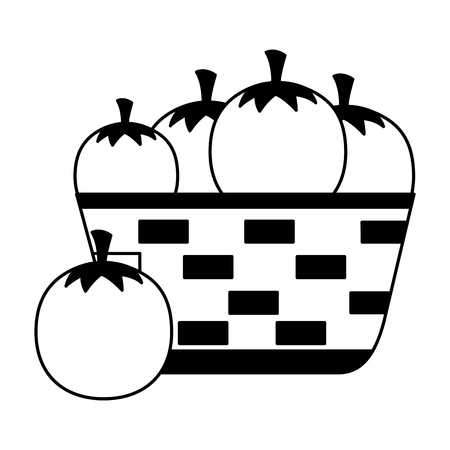 wicker basket with fresh tomatoes vector illustration Illustration