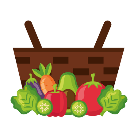 wicker basket with tomato carrot avocado and pepper vector illustration 일러스트