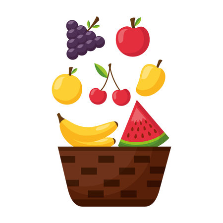 wicker basket with fruits apple grapes banana and mango vector illustration Stock Vector - 113826370