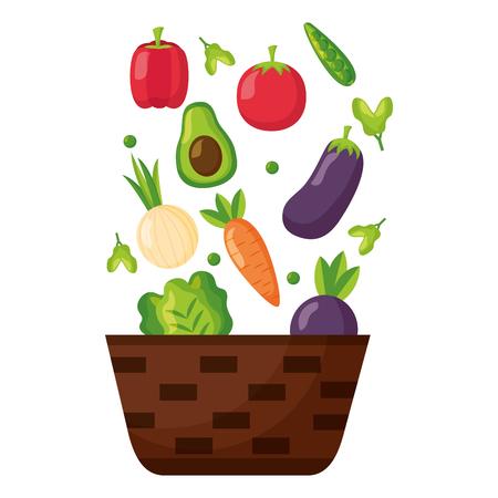 wicker basket with fresh vegetables vector illustration Illustration