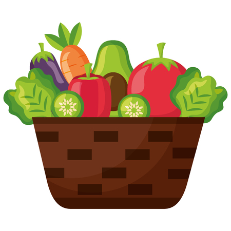 wicker basket with filled vegetables vector illustration