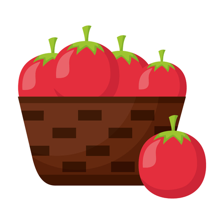 wicker basket with fresh tomatoes vector illustration Ilustração