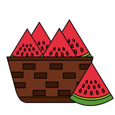 wicker basket with fresh watermelon vector illustration