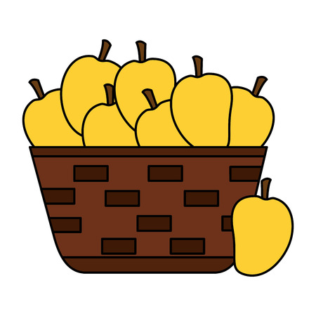 wicker basket with fresh mango vector illustration  イラスト・ベクター素材