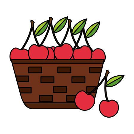 wicker basket with fresh cherries vector illustration Çizim