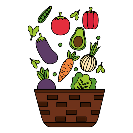 wicker basket with fresh vegetables vector illustration Illustration