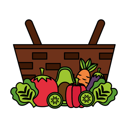 wicker basket with tomato carrot avocado and pepper vector illustration Illustration