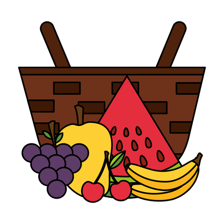 wicker basket with watermelon grapes mango banana vector illustration  イラスト・ベクター素材