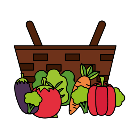 wicker basket with eggplant pepper tomato and carrot vector illustration