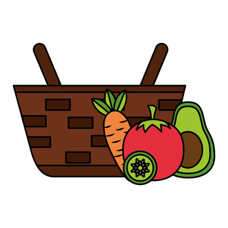 wicker basket with fresh carrot tomato and avocado vector illustration Banque d'images - 126821370