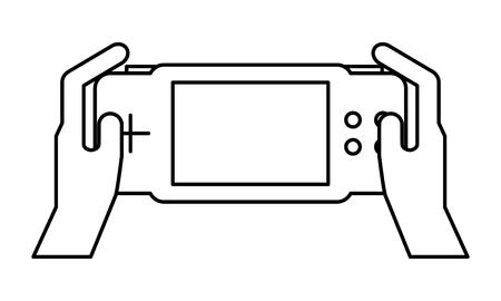 hands holding control on white background vector illustration Иллюстрация