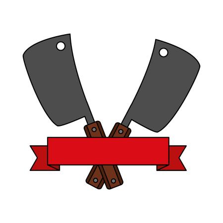 barbecue knives utensils emblem banner vector illustration vector illustration Illustration