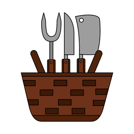wicker basket fork and knives vector illustration vector illustration Çizim