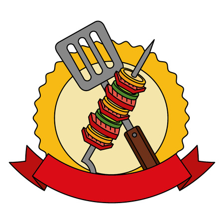 barbecue kebab and spatula emblem vector illustration vector illustration Ilustração