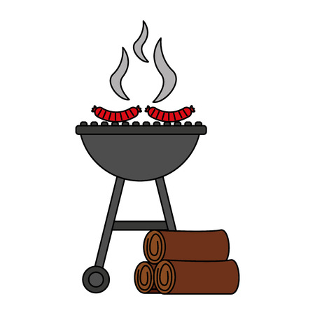 barbecue grill with sausages and wooden vector illustration vector illustration