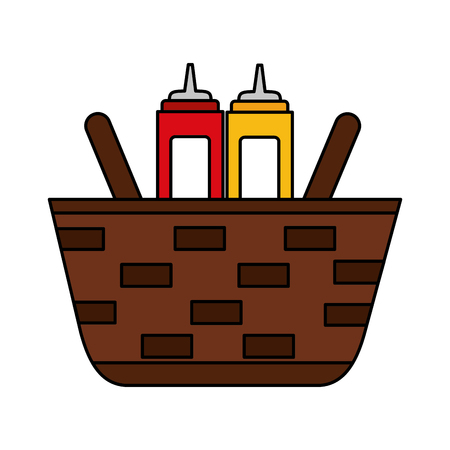 wicker basket with mustard and ketchup vector illustration vector illustration Illustration
