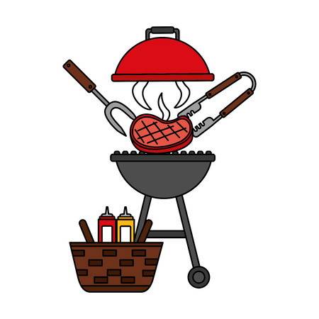 barbecue grill steak and basket picnic vector illustration vector illustration