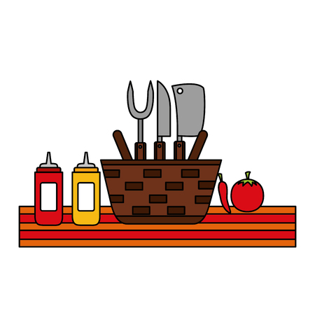 wicker basket picnic sauces and utensils vector illustration vector illustration Ilustracja