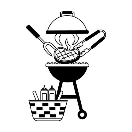 barbecue grill steak and basket picnic vector illustration vector illustration Standard-Bild - 126821379