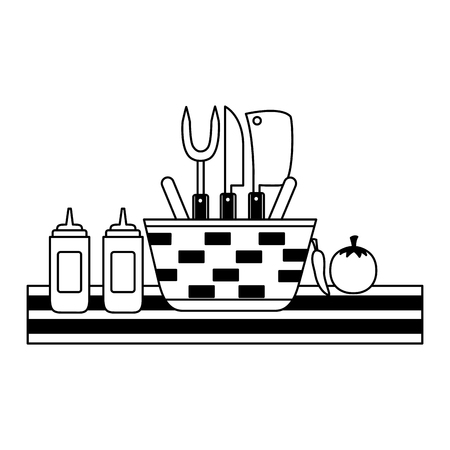wicker basket picnic sauces and utensils vector illustration vector illustration  イラスト・ベクター素材