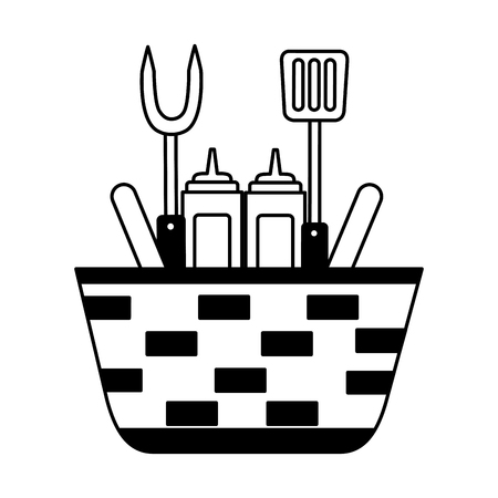 wicker basket sauces and utensils barbecue vector illustration vector illustration