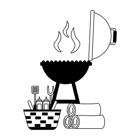 wicker basket barbecue grill wooden utensils vector illustration vector illustration