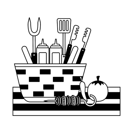 wicker basket barbecue sauces tongs vector illustration vector illustration Ilustracja