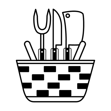 wicker basket fork and knives vector illustration vector illustration Ilustração