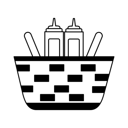 wicker basket with mustard and ketchup vector illustration vector illustration 向量圖像