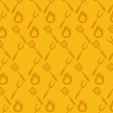 barbecue picnic fork spatula background vector illustration Vektorgrafik