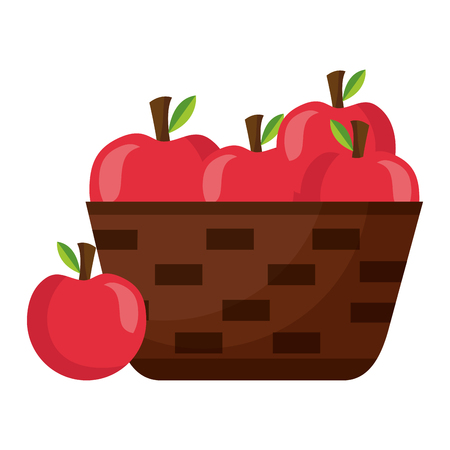 wicker basket with fresh apple vector illustration