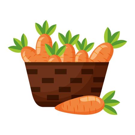panier en osier avec illustration vectorielle de carottes fraîches