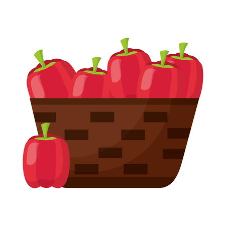 wicker basket with fresh peppers vector illustration