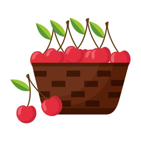 wicker basket with fresh cherries vector illustration Illustration