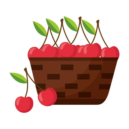 wicker basket with fresh cherries vector illustration 向量圖像