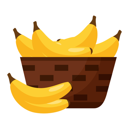 wicker basket with fresh banana vector illustration