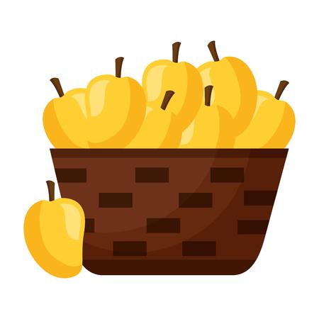 wicker basket with fresh mango vector illustration  イラスト・ベクター素材