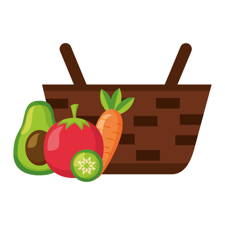 wicker basket with fresh carrot tomato and avocado vector illustration
