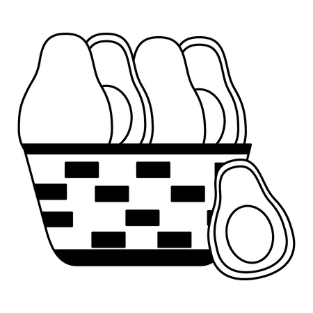 wicker basket with fresh avocado vector illustration
