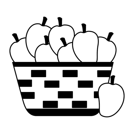 wicker basket with fresh mango vector illustration Çizim