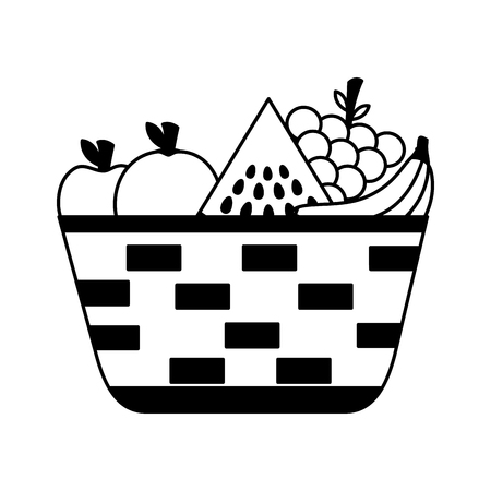 wicker basket with fresh fruits vector illustration