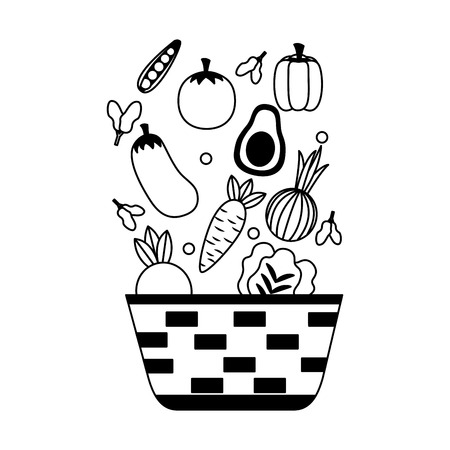 wicker basket with fresh vegetables vector illustration Ilustração