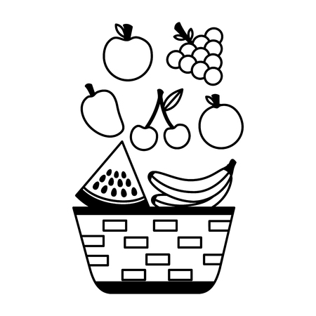 wicker basket with fruits apple grapes banana and mango vector illustration Çizim