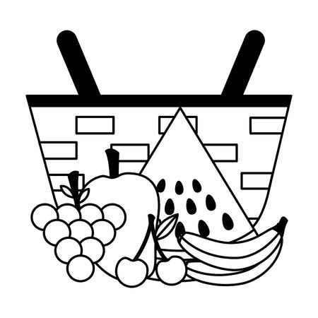 wicker basket with watermelon grapes mango banana vector illustration Illustration